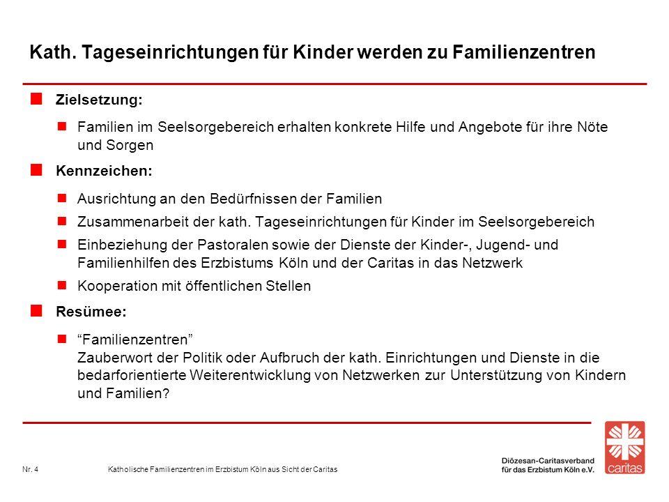 Katholische Familienzentren im Erzbistum Köln aus Sicht der CaritasNr. 4 Kath. Tageseinrichtungen für Kinder werden zu Familienzentren Zielsetzung: Fa