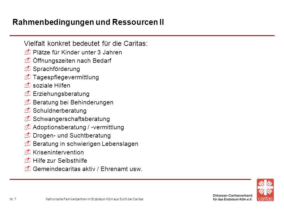 Katholische Familienzentren im Erzbistum Köln aus Sicht der CaritasNr. 7 Rahmenbedingungen und Ressourcen II Vielfalt konkret bedeutet für die Caritas