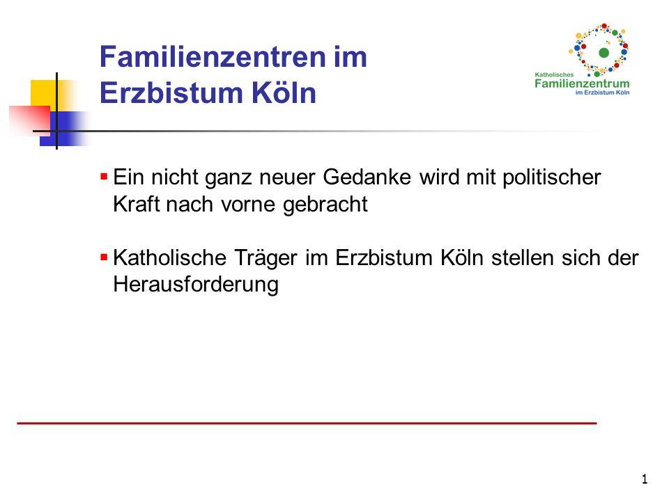 1 Familienzentren im Erzbistum Köln Ein nicht ganz neuer Gedanke wird mit politischer Kraft nach vorne gebracht Katholische Träger im Erzbistum Köln s