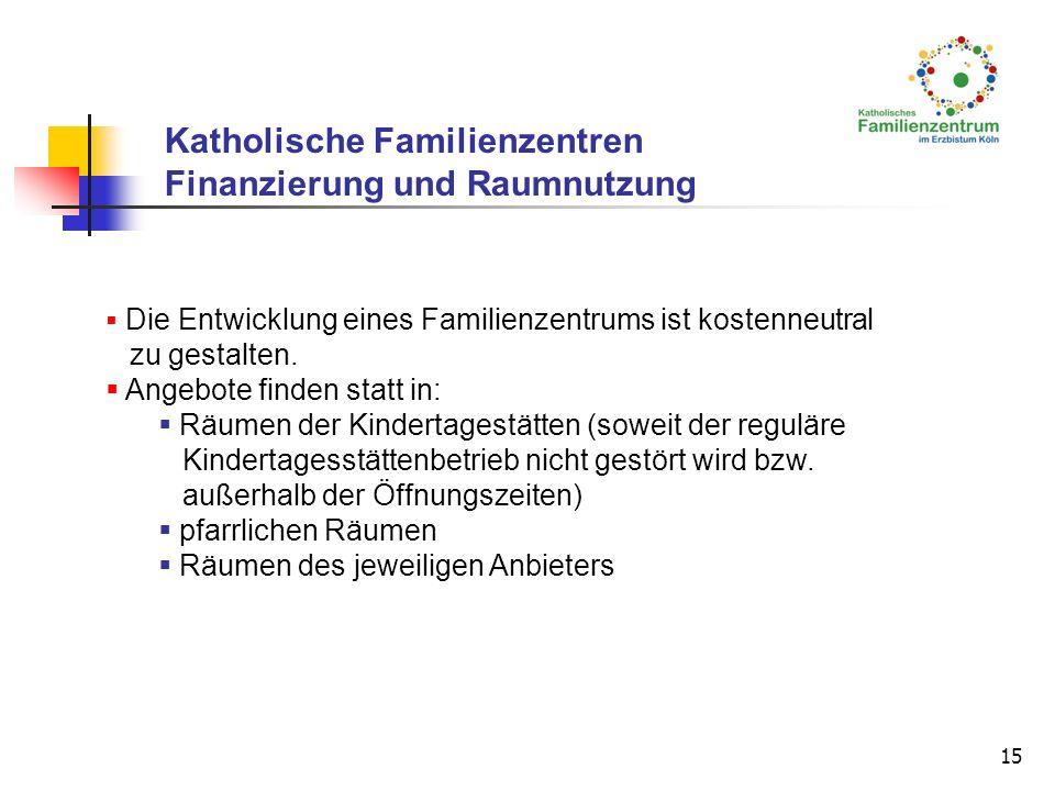 15 Die Entwicklung eines Familienzentrums ist kostenneutral zu gestalten. Angebote finden statt in: Räumen der Kindertagestätten (soweit der reguläre