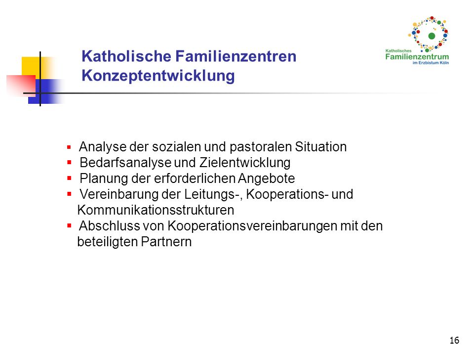 16 Analyse der sozialen und pastoralen Situation Bedarfsanalyse und Zielentwicklung Planung der erforderlichen Angebote Vereinbarung der Leitungs-, Ko