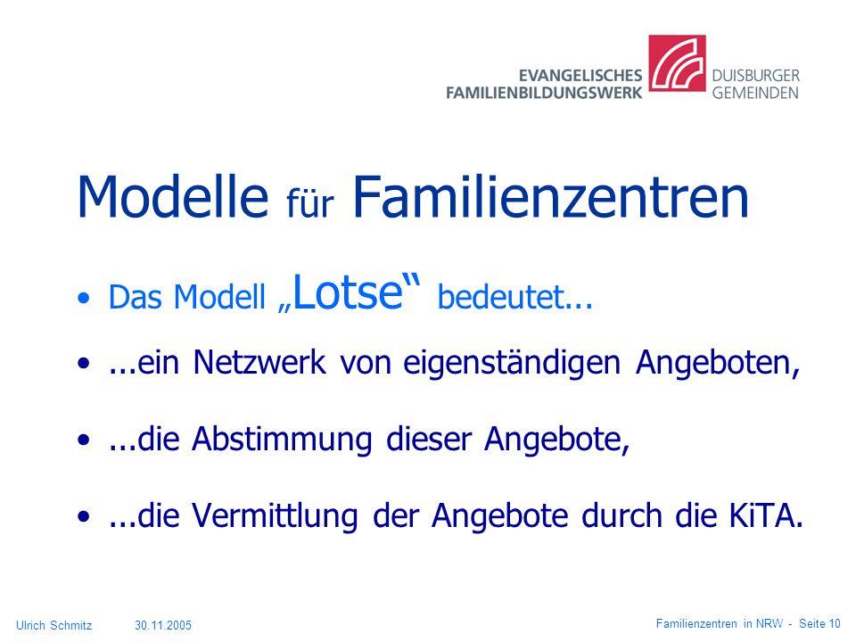 Modelle für Familienzentren Das Modell Lotse bedeutet......ein Netzwerk von eigenständigen Angeboten,...die Abstimmung dieser Angebote,...die Vermittl