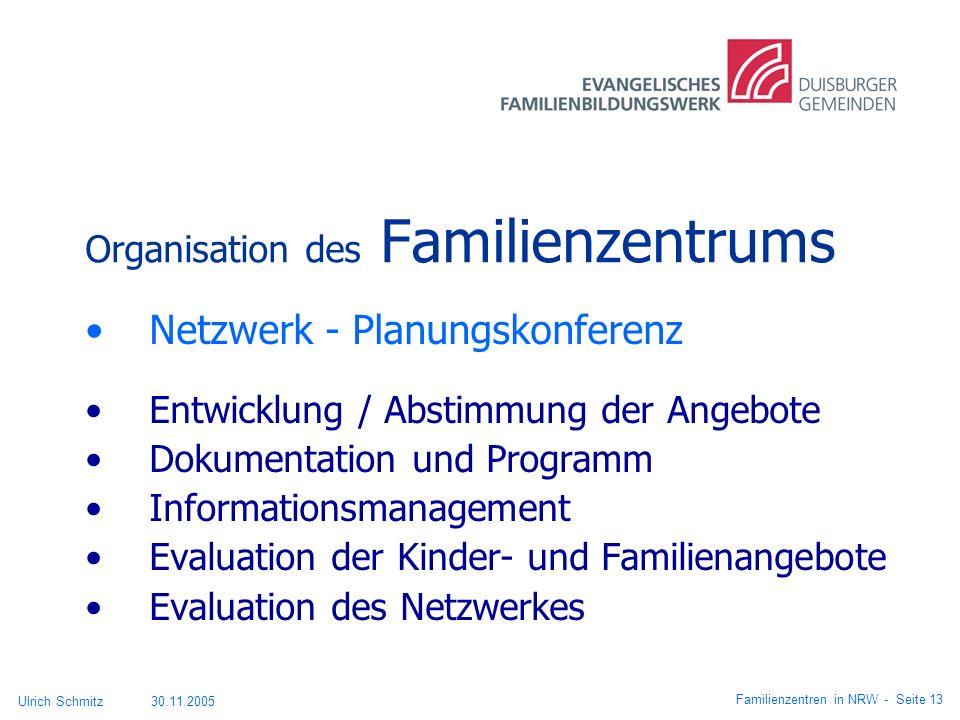 Organisation des Familienzentrums Netzwerk - Planungskonferenz Entwicklung / Abstimmung der Angebote Dokumentation und Programm Informationsmanagement
