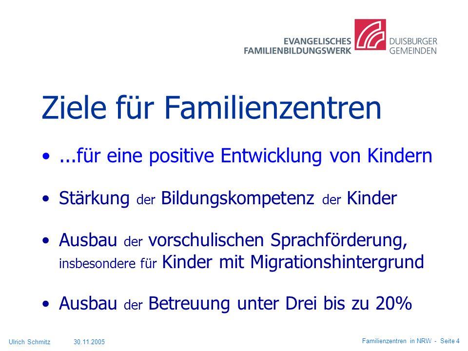 Ziele für Familienzentren...für eine positive Entwicklung von Kindern Stärkung der Bildungskompetenz der Kinder Ausbau der vorschulischen Sprachförder
