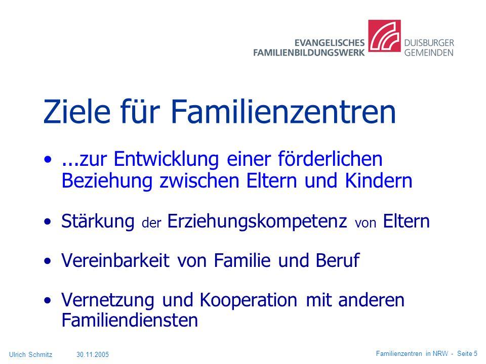 Ziele für Familienzentren...zur Entwicklung einer förderlichen Beziehung zwischen Eltern und Kindern Stärkung der Erziehungskompetenz von Eltern Verei