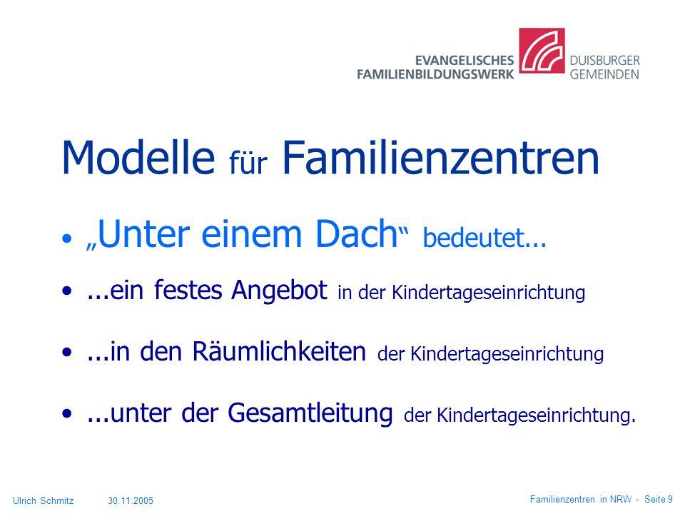 Modelle für Familienzentren Unter einem Dach bedeutet......ein festes Angebot in der Kindertageseinrichtung...in den Räumlichkeiten der Kindertagesein