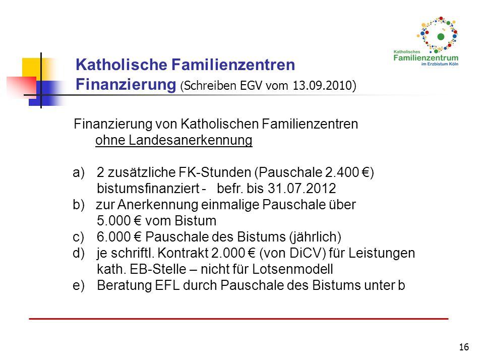16 Finanzierung von Katholischen Familienzentren ohne Landesanerkennung a)2 zusätzliche FK-Stunden (Pauschale 2.400 ) bistumsfinanziert - befr. bis 31