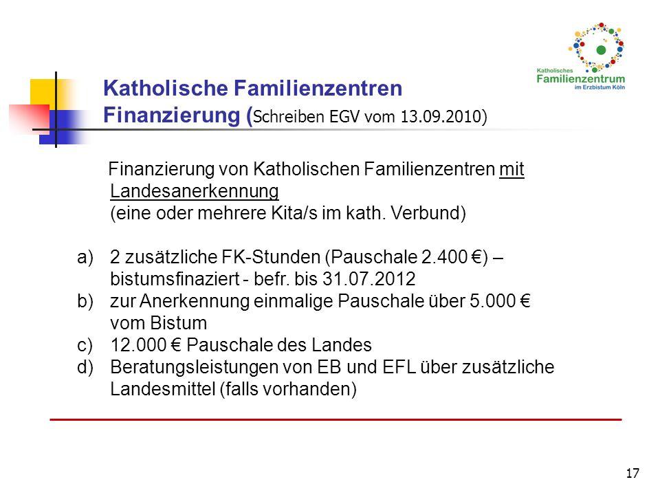 17 Finanzierung von Katholischen Familienzentren mit Landesanerkennung (eine oder mehrere Kita/s im kath. Verbund) a)2 zusätzliche FK-Stunden (Pauscha