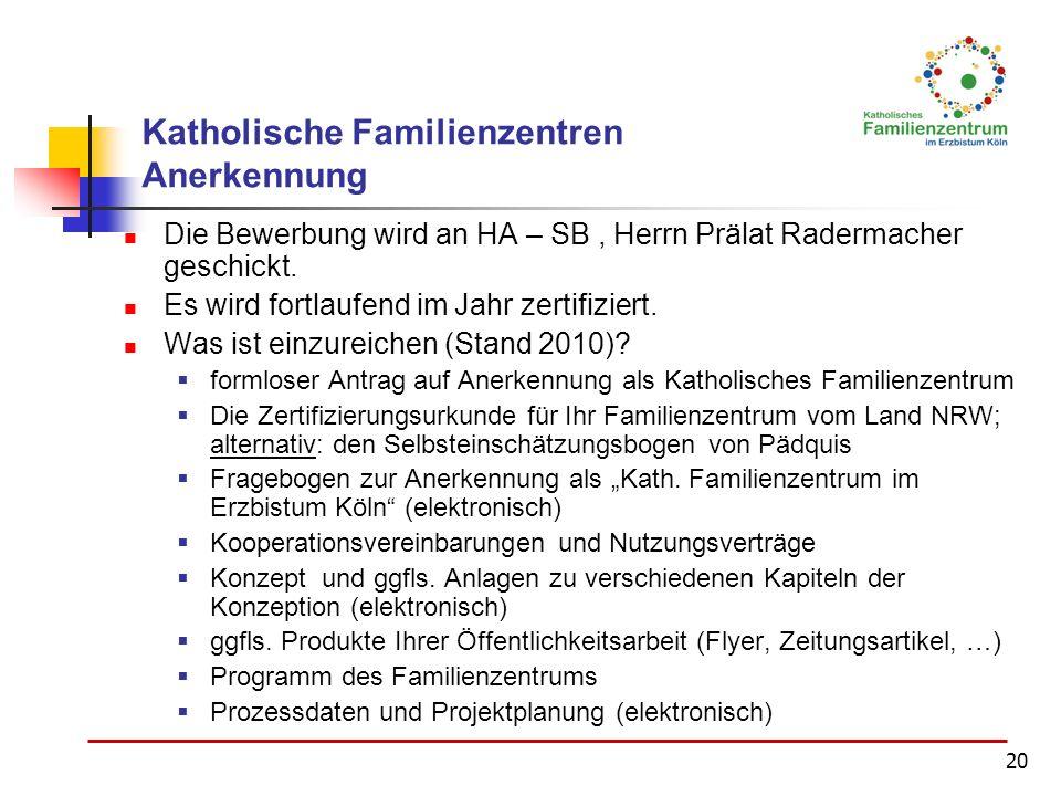 20 Katholische Familienzentren Anerkennung Die Bewerbung wird an HA – SB, Herrn Prälat Radermacher geschickt. Es wird fortlaufend im Jahr zertifiziert