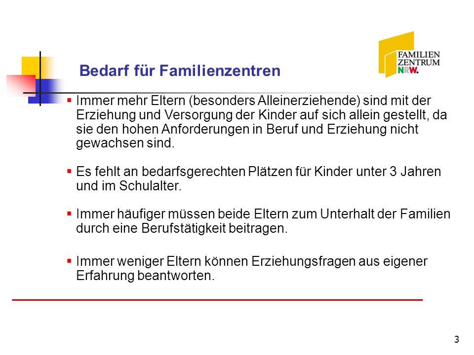 3 Bedarf für Familienzentren Immer mehr Eltern (besonders Alleinerziehende) sind mit der Erziehung und Versorgung der Kinder auf sich allein gestellt,