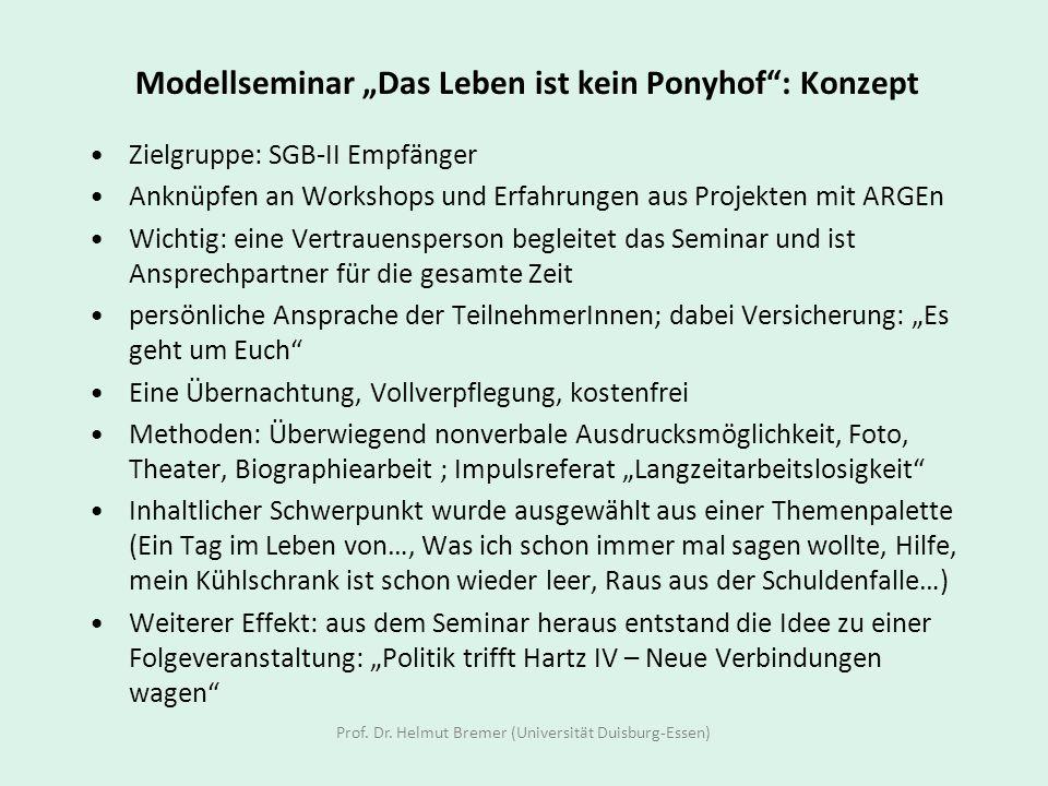 Modellseminar Das Leben ist kein Ponyhof: Konzept Zielgruppe: SGB-II Empfänger Anknüpfen an Workshops und Erfahrungen aus Projekten mit ARGEn Wichtig: