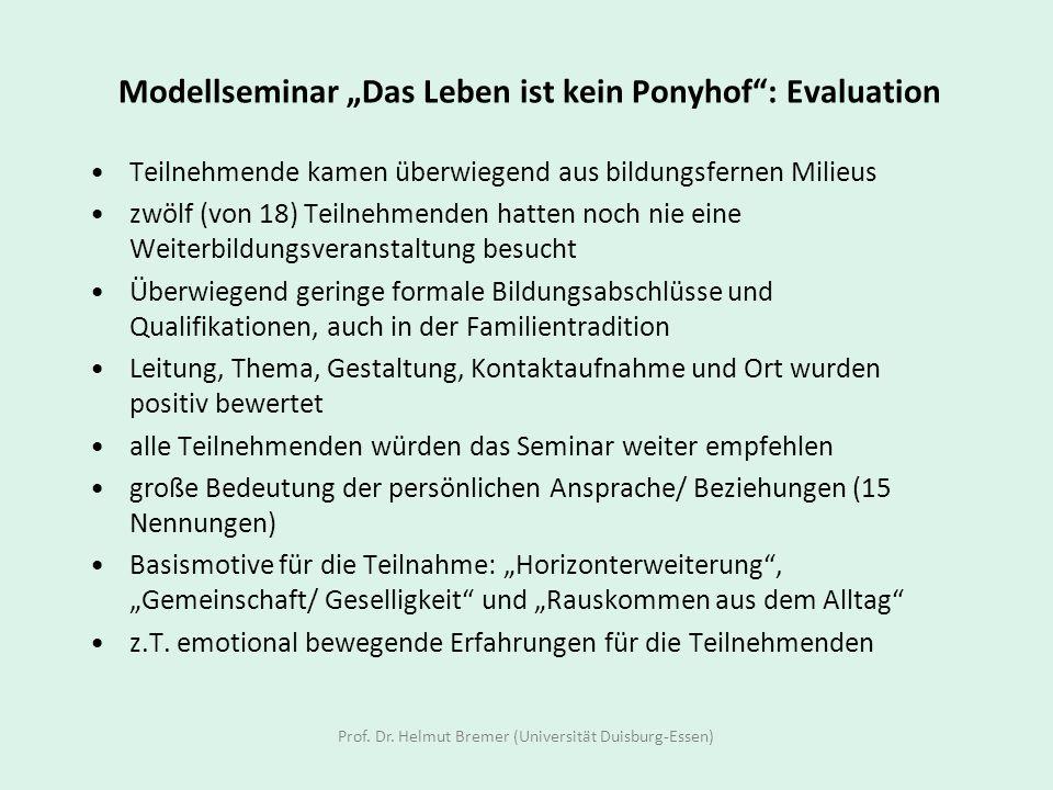 Modellseminar Das Leben ist kein Ponyhof: Evaluation Teilnehmende kamen überwiegend aus bildungsfernen Milieus zwölf (von 18) Teilnehmenden hatten noc