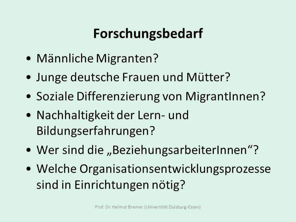 Forschungsbedarf Männliche Migranten? Junge deutsche Frauen und Mütter? Soziale Differenzierung von MigrantInnen? Nachhaltigkeit der Lern- und Bildung