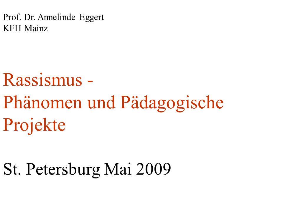 Prof. Dr. Annelinde Eggert KFH Mainz Rassismus - Phänomen und Pädagogische Projekte St. Petersburg Mai 2009