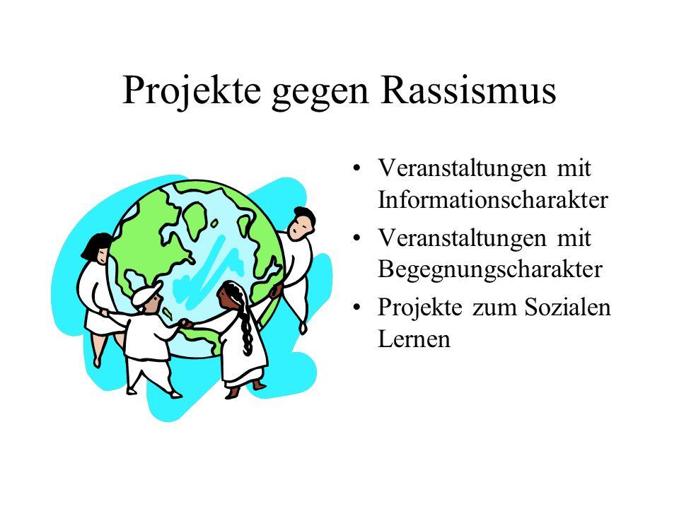 Projekte gegen Rassismus Veranstaltungen mit Informationscharakter Veranstaltungen mit Begegnungscharakter Projekte zum Sozialen Lernen