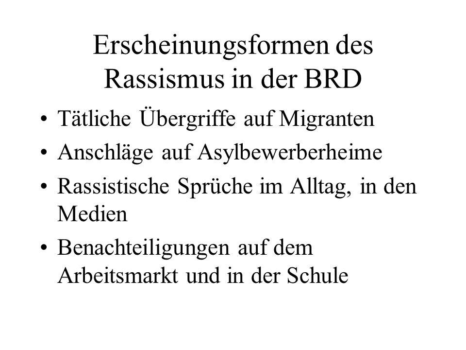 Erscheinungsformen des Rassismus in der BRD Tätliche Übergriffe auf Migranten Anschläge auf Asylbewerberheime Rassistische Sprüche im Alltag, in den M