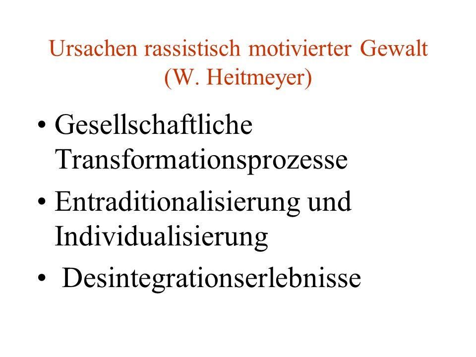 Ursachen rassistisch motivierter Gewalt (W. Heitmeyer) Gesellschaftliche Transformationsprozesse Entraditionalisierung und Individualisierung Desinteg