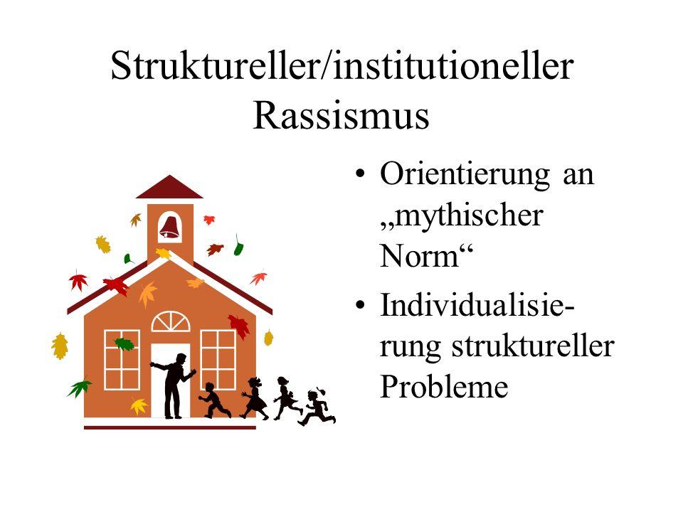 Struktureller/institutioneller Rassismus Orientierung an mythischer Norm Individualisie- rung struktureller Probleme