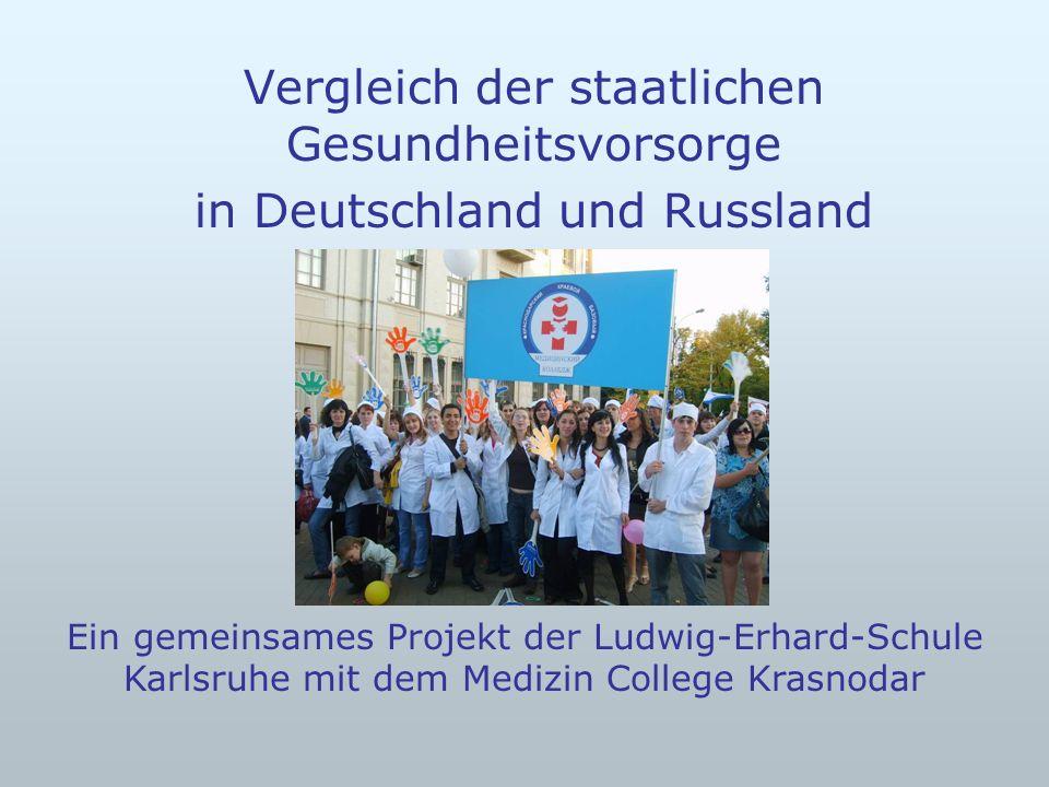 Vergleich der staatlichen Gesundheitsvorsorge in Deutschland und Russland Ein gemeinsames Projekt der Ludwig-Erhard-Schule Karlsruhe mit dem Medizin C