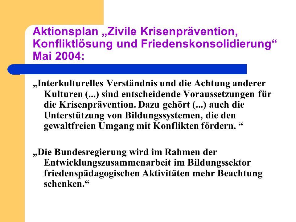 Aktionsplan Zivile Krisenprävention, Konfliktlösung und Friedenskonsolidierung Mai 2004: Interkulturelles Verständnis und die Achtung anderer Kulturen