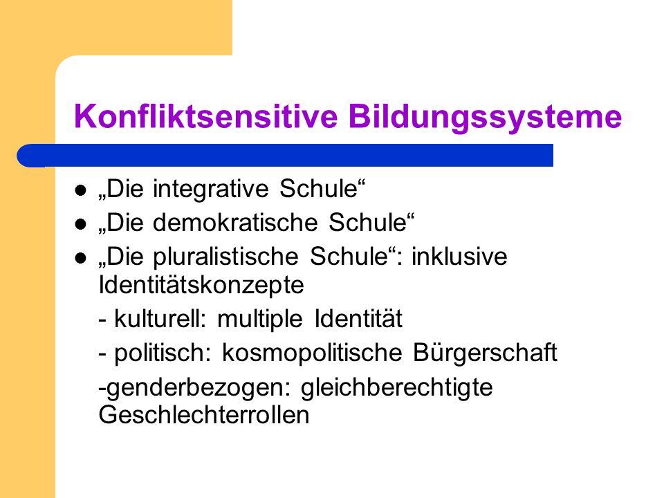 Konfliktsensitive Bildungssysteme Die integrative Schule Die demokratische Schule Die pluralistische Schule: inklusive Identitätskonzepte - kulturell: