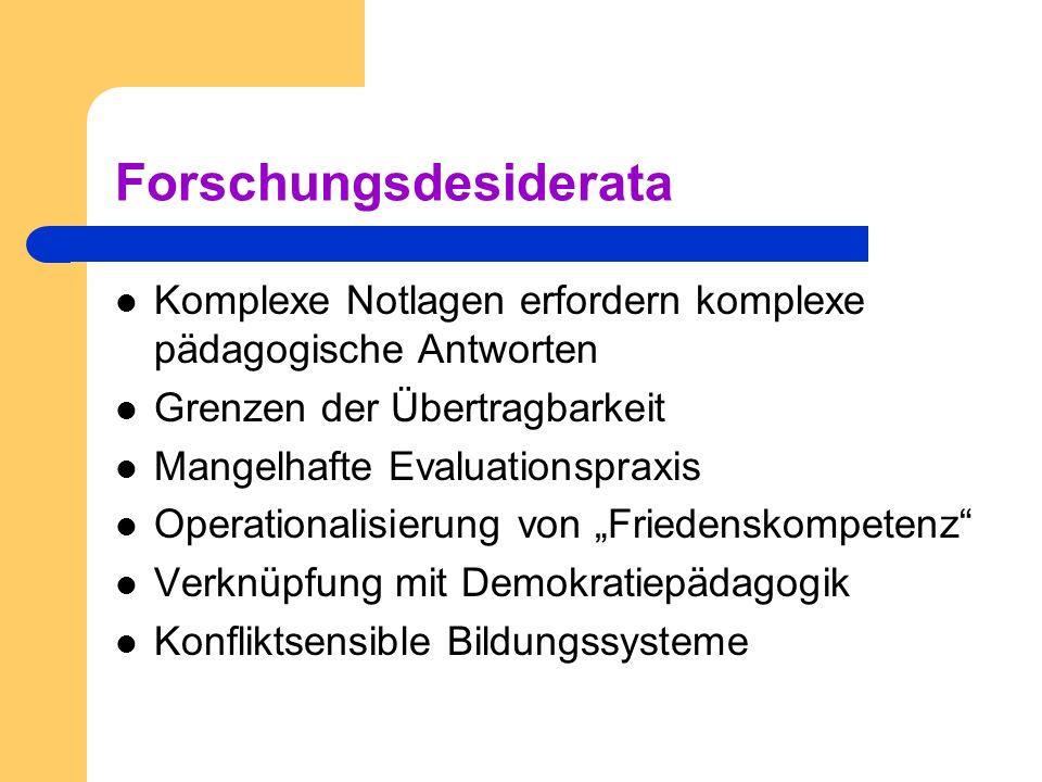 Forschungsdesiderata Komplexe Notlagen erfordern komplexe pädagogische Antworten Grenzen der Übertragbarkeit Mangelhafte Evaluationspraxis Operational