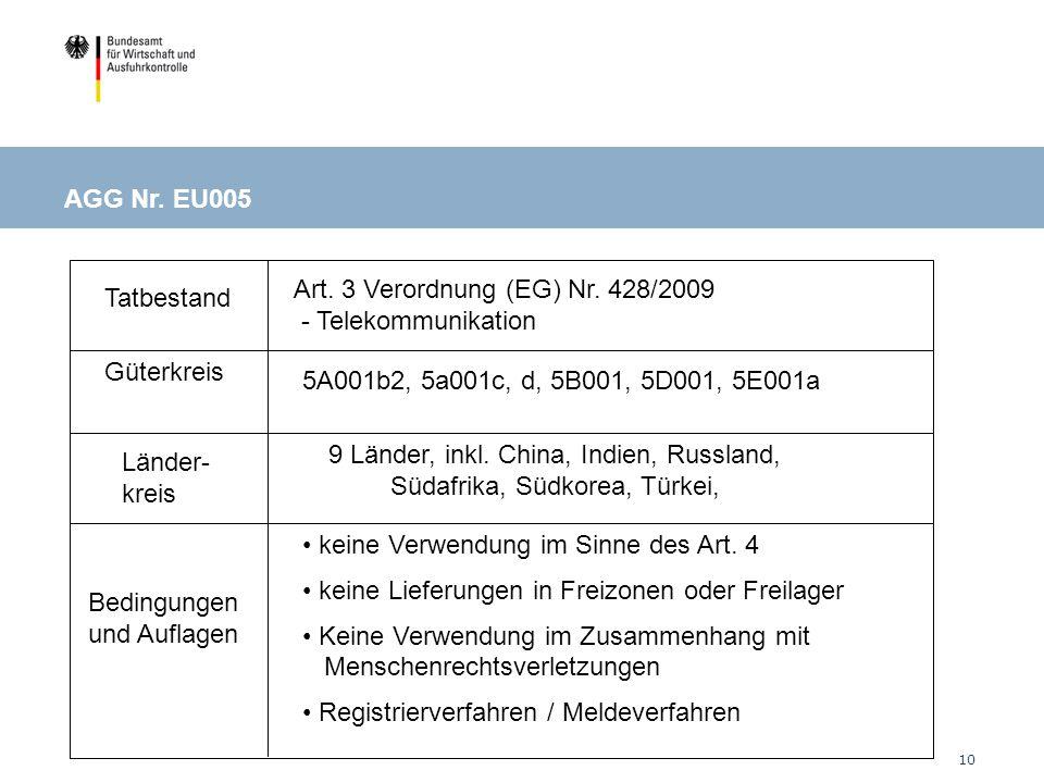 10 Tatbestand Güterkreis Länder- kreis Bedingungen und Auflagen Art.