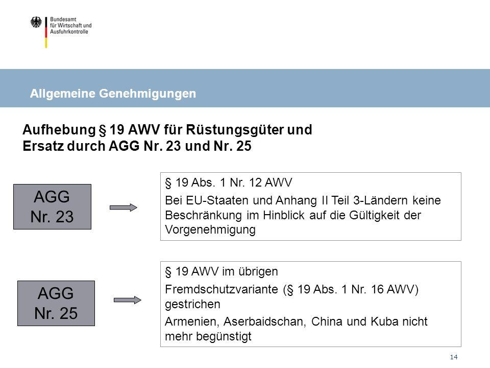 14 AGG Nr.23 AGG Nr. 25 § 19 Abs. 1 Nr.