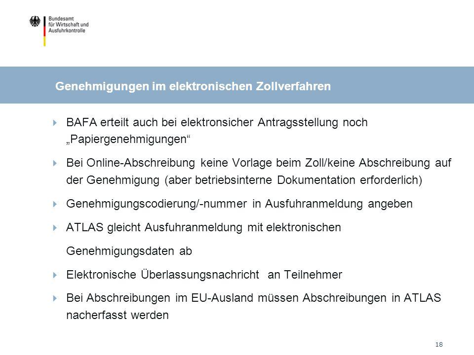 18 BAFA erteilt auch bei elektronsicher Antragsstellung noch Papiergenehmigungen Bei Online-Abschreibung keine Vorlage beim Zoll/keine Abschreibung auf der Genehmigung (aber betriebsinterne Dokumentation erforderlich) Genehmigungscodierung/-nummer in Ausfuhranmeldung angeben ATLAS gleicht Ausfuhranmeldung mit elektronischen Genehmigungsdaten ab Elektronische Überlassungsnachricht an Teilnehmer Bei Abschreibungen im EU-Ausland müssen Abschreibungen in ATLAS nacherfasst werden Genehmigungen im elektronischen Zollverfahren