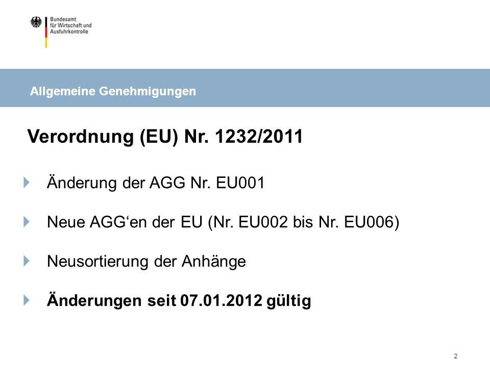 13 Neue Bekanntmachung zur Nutzung der EU-AGGen (23.12.2011) Registrierungspflicht für alle EU-AGGen über ELAN K2 Meldepflicht für alle EU-AGGen über ELAN K2 Keine Ausnahmen mehr bei der Meldepflicht Besonderheiten bei AGG Nr.