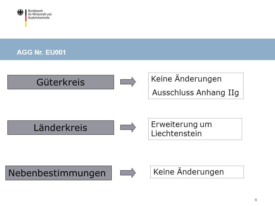 5 Tatbestand Güterkreis Länder- kreis Bedingungen und Auflagen AGG Nr.