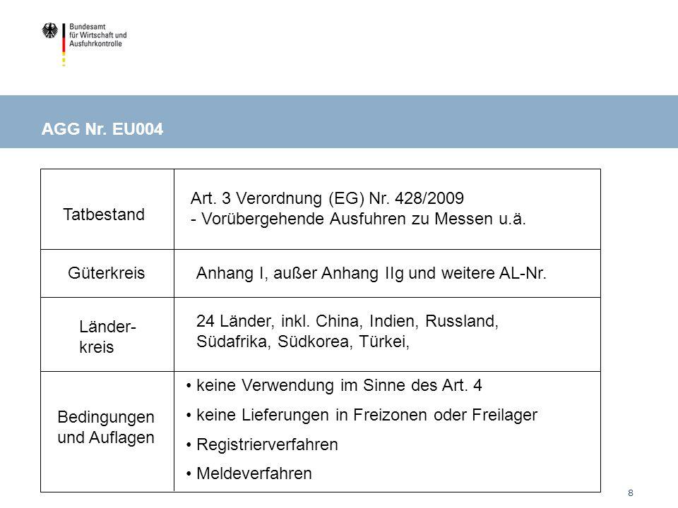 8 Tatbestand Güterkreis Länder- kreis Bedingungen und Auflagen EU004: Ausstellungen / Messen Art.