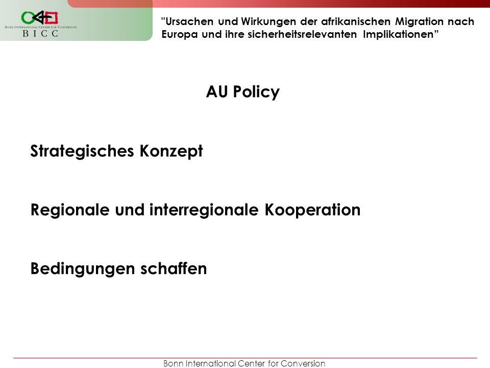Bonn International Center for Conversion Ursachen und Wirkungen der afrikanischen Migration nach Europa und ihre sicherheitsrelevanten Implikationen AU Policy Strategisches Konzept Regionale und interregionale Kooperation Bedingungen schaffen