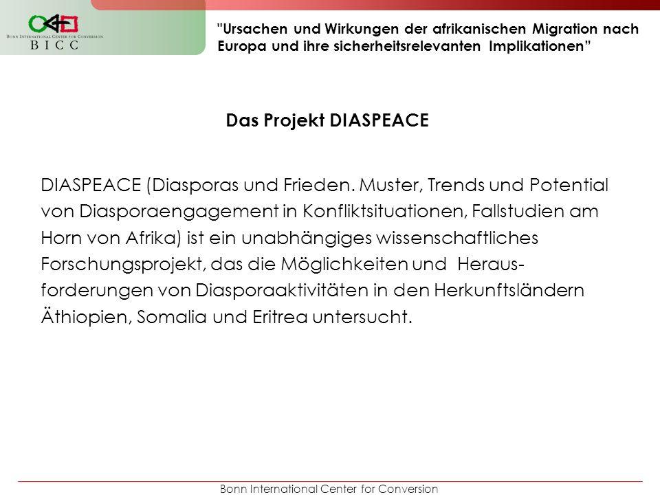 Bonn International Center for Conversion Ursachen und Wirkungen der afrikanischen Migration nach Europa und ihre sicherheitsrelevanten Implikationen Das Projekt DIASPEACE DIASPEACE (Diasporas und Frieden.