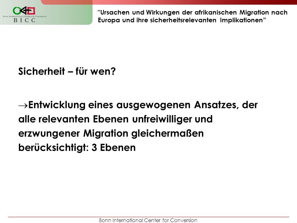 Bonn International Center for Conversion Ursachen und Wirkungen der afrikanischen Migration nach Europa und ihre sicherheitsrelevanten Implikationen Sicherheit – für wen.