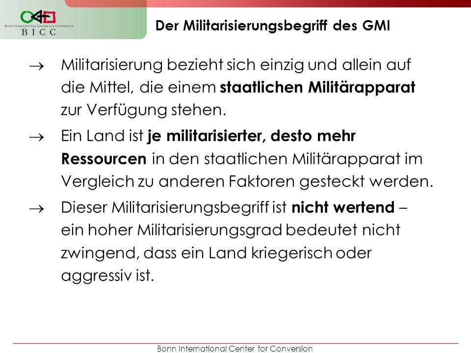 Bonn International Center for Conversion Militarisierung bezieht sich einzig und allein auf die Mittel, die einem staatlichen Militärapparat zur Verfü