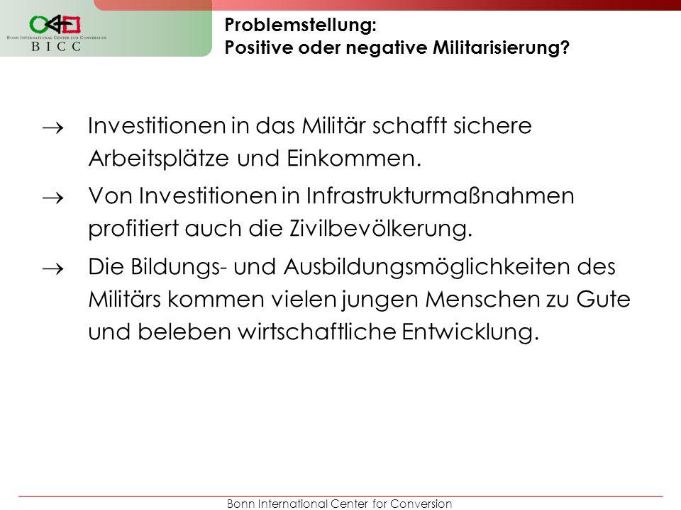 Bonn International Center for Conversion Problemstellung: Positive oder negative Militarisierung.