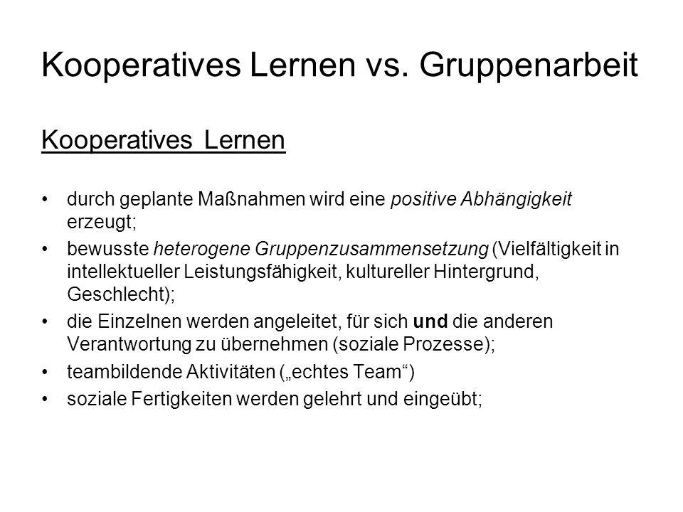 Kooperatives Lernen vs. Gruppenarbeit Kooperatives Lernen durch geplante Maßnahmen wird eine positive Abhängigkeit erzeugt; bewusste heterogene Gruppe