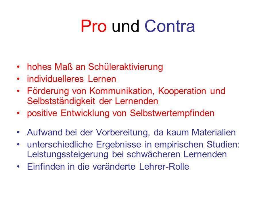 Pro und Contra hohes Maß an Schüleraktivierung individuelleres Lernen Förderung von Kommunikation, Kooperation und Selbstständigkeit der Lernenden pos
