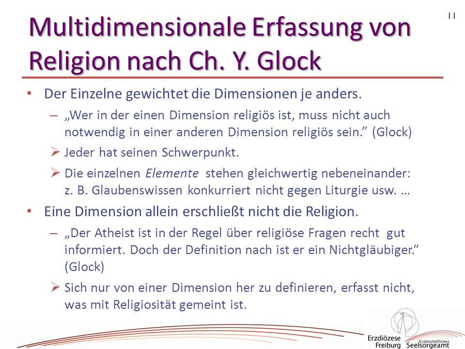 11 Multidimensionale Erfassung von Religion nach Ch. Y. Glock Der Einzelne gewichtet die Dimensionen je anders. – Wer in der einen Dimension religiös