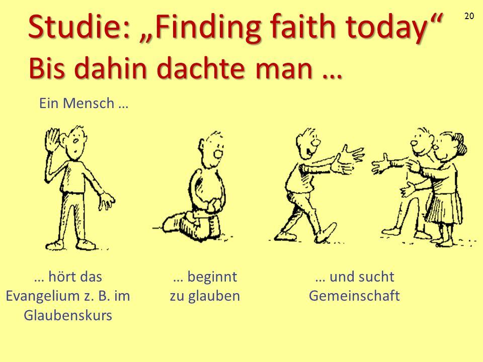 20 Studie: Finding faith today Bis dahin dachte man … Ein Mensch … … und sucht Gemeinschaft … beginnt zu glauben … hört das Evangelium z. B. im Glaube