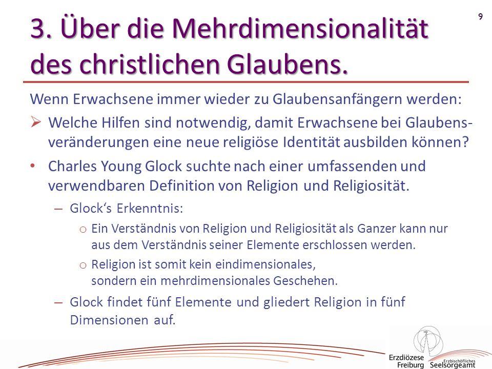 9 3. Über die Mehrdimensionalität des christlichen Glaubens. Wenn Erwachsene immer wieder zu Glaubensanfängern werden: Welche Hilfen sind notwendig, d
