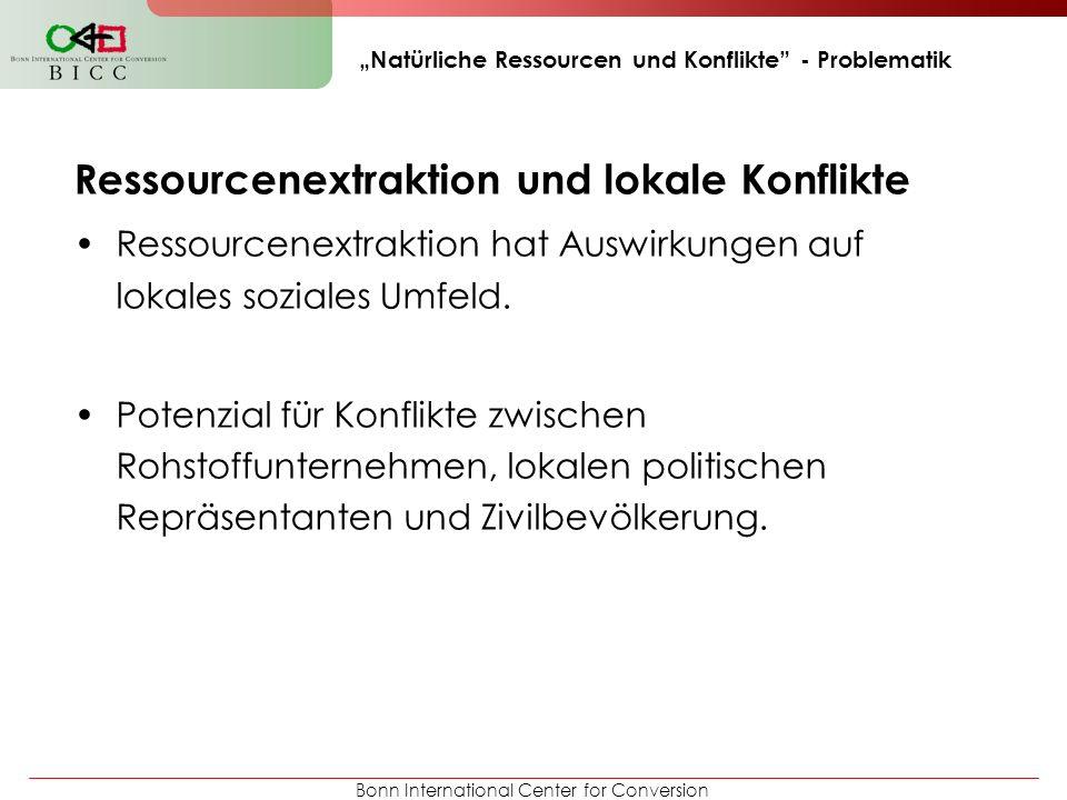 Bonn International Center for Conversion Natürliche Ressourcen und Konflikte - Problematik Ressourcenextraktion und lokale Konflikte Ressourcenextrakt