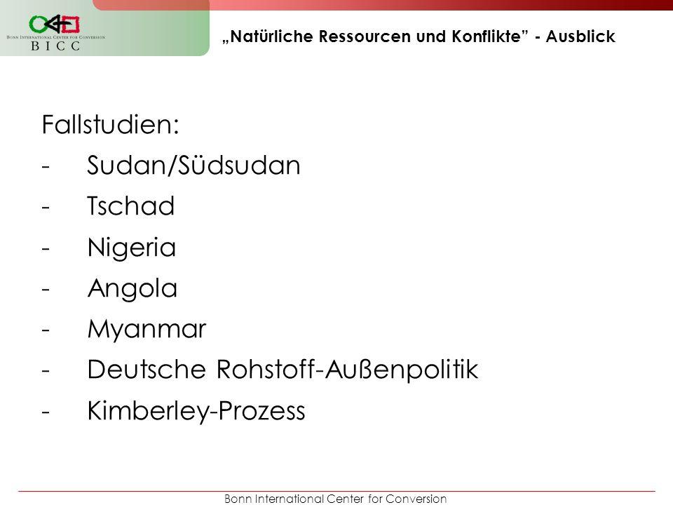 Bonn International Center for Conversion Natürliche Ressourcen und Konflikte - Ausblick Fallstudien: -Sudan/Südsudan -Tschad -Nigeria -Angola -Myanmar