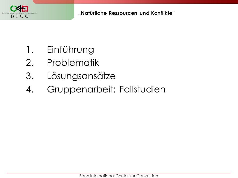 Bonn International Center for Conversion Natürliche Ressourcen und Konflikte 1.Einführung 2.Problematik 3.Lösungsansätze 4.Gruppenarbeit: Fallstudien