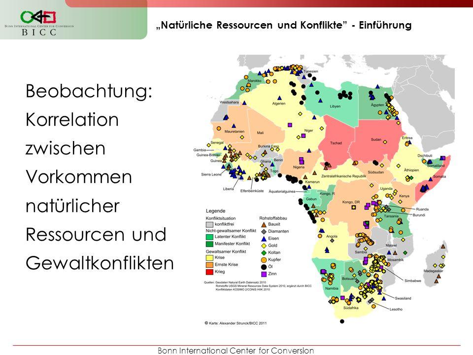 Bonn International Center for Conversion Natürliche Ressourcen und Konflikte - Einführung Beobachtung: Korrelation zwischen Vorkommen natürlicher Ress