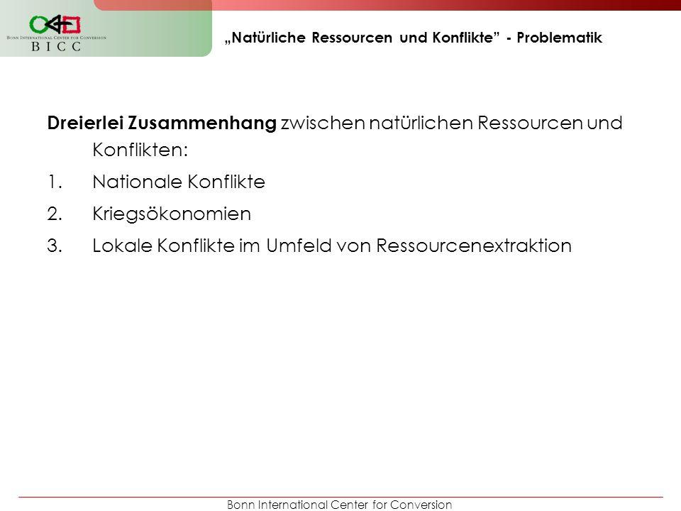 Bonn International Center for Conversion Natürliche Ressourcen und Konflikte - Problematik Nationale Konflikte… …um Ressourcen - Wie werden staatliche Einnahmen aus Ressourcenextraktion verteilt.