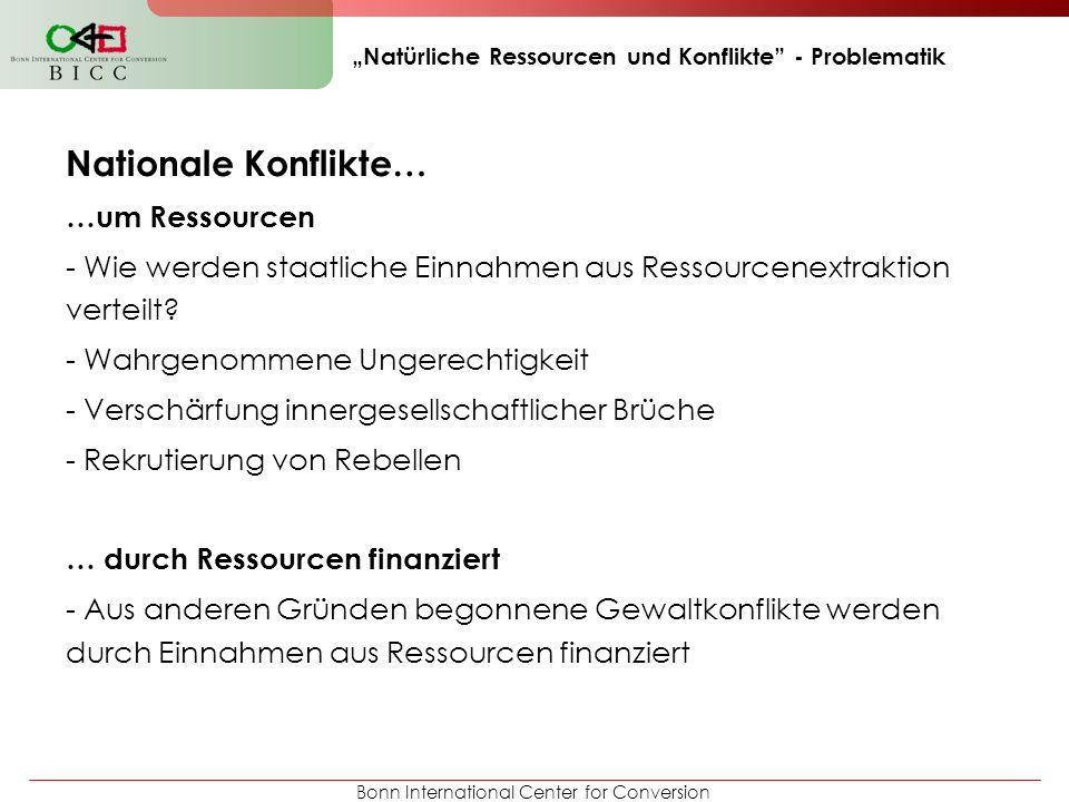 Bonn International Center for Conversion Natürliche Ressourcen und Konflikte - Problematik Nationale Konflikte… …um Ressourcen - Wie werden staatliche