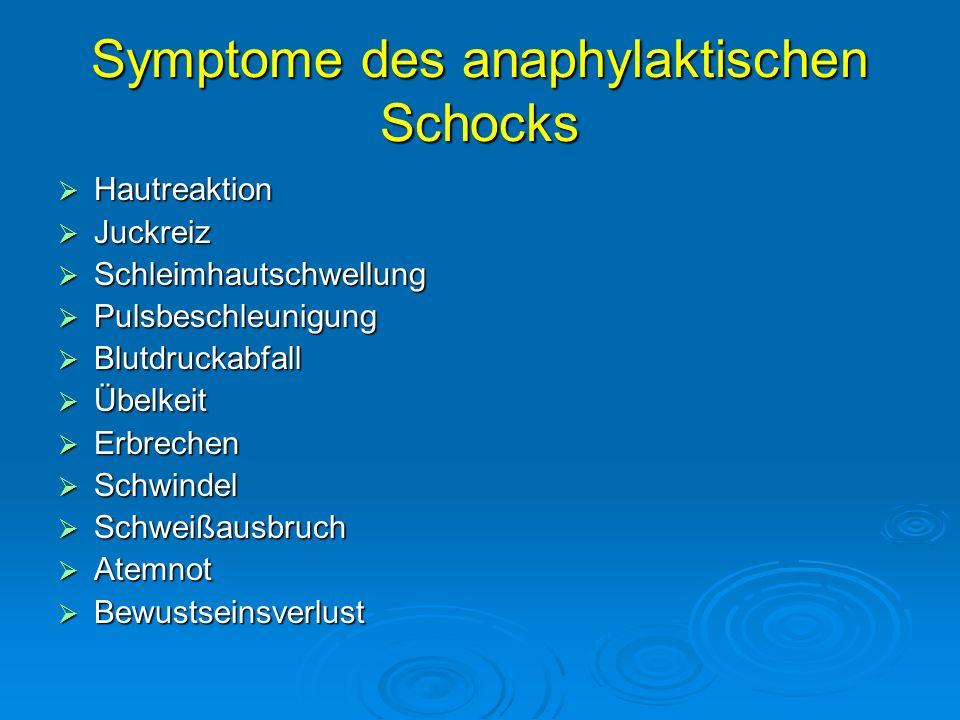 Symptome des anaphylaktischen Schocks Hautreaktion Hautreaktion Juckreiz Juckreiz Schleimhautschwellung Schleimhautschwellung Pulsbeschleunigung Pulsb