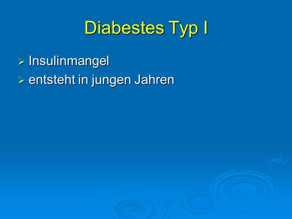 Diabestes Typ I Insulinmangel Insulinmangel entsteht in jungen Jahren entsteht in jungen Jahren